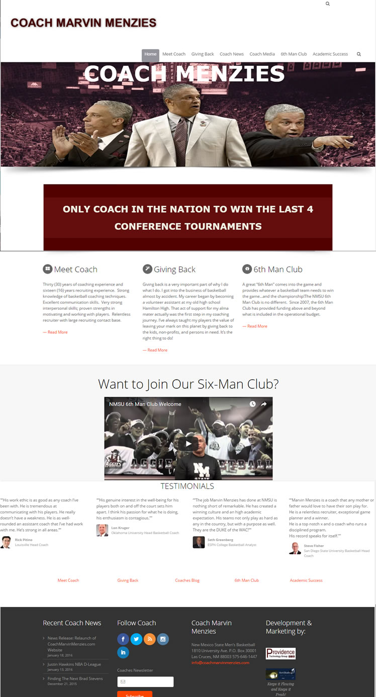 COACH MARVIN MENZIES NEW WEBSITE